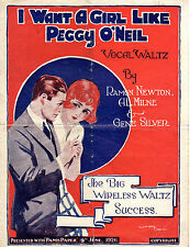 """SHEET MUSIC - """"I WANT A GIRL LIKE PEGGY O'NEIL"""" - ISSUED WITH PAM;S PAPER (1926)"""