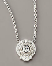 """$1,995 Penny Preville Flutted Round Diamond 18K White Gold Pendant Necklace 16"""""""