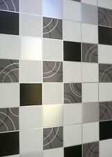 KITCHEN & BATHROOM  VINYL WALLPAPER TILE ON A ROLL BLACK WHITE SILVER ++Free P&P