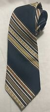 Remington Apparel Blue Gold Brown Striped 100% Polyester Short Tie