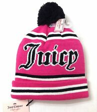 New$28 Womens JUICY COUTURE POM BEANIE Pink/White/Black Winter Knit Ski Hat NWT