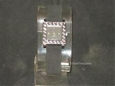 VTG LADIES NO NAME WATCH FAUZ? SUEDE BAND BLACK & SILVER FACE! PRETTY!  z212