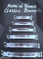 Silver 60 mm Classic HAIR BARRETTE 'Made in France' automatic barrette blank