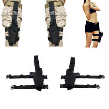 Right + Left Drop Leg Tactical Pistol Gun Thigh Holster Pouch For Colt 1911