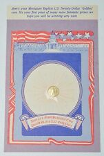 Miniature Replica US Golden Coin First Prize With Original Card Vintage 60's