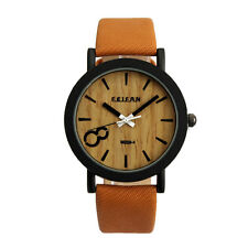 Casual Simulation Wood Grain Color Dial PU Leather Band Analog Quartz Men Watch