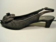 "CHANEL BLOOMINGDAY BLACK LACE SATIN CAMELLIA SLINGBACKS PUMPS HEELS ""CC"" 36 NEW"