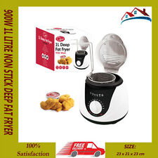 900W 1L LITRE NON STICK DEEP FAT FRYER FRY OIL LID KITCHEN COMPACT CHIP FISH FRY
