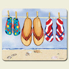 Tempered Glass Cutting Cheese Board 8x10 Tropical Flip Flops