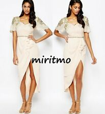 VIRGOS LOUNGE LAILA EMBELLISHED NUDE MIDI DRESS WITH THIGH SPILIT DETAIL SIZE 10