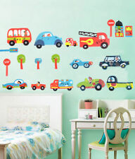 Transport Cars Fire Engine Bus Traffic Wall Stickers Kids Art Decal Paper Decor