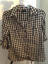 Divided by H&M 3/4 sleeve Rolled  tab Checked Black and Khaki Top Size 12