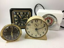 4 Vintage Alarm Clocks Baby Ben Gilbert Ingram Fireball Radium Appliance Clock