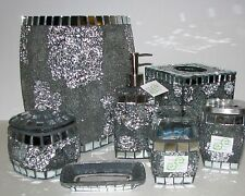 7 PC SET SILVER GRAY MOSAIC GLASS,MIRROR DISPENSER+TISSUE+TRASH CAN+JAR+TUMBLER+