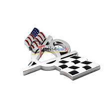 (1) 3D Metal US Flag Racing V8 Truck Lid Emblem Badge for Ford Mustang Sticker