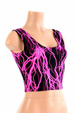 MEDIUM UV Glow Pink Lightning Spandex Rave Festival Crop Tank Top Ready To Ship!