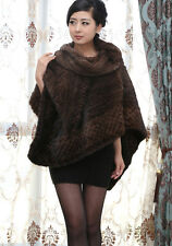 100% Real Genuine Knitted Mink Fur Poncho Cape Stole Coat Outwear Warm Winter