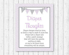 Purple & Grey Chevron Diaper Thoughts Late Night Diaper Baby Shower Game