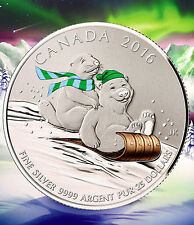 2016 Canada $25 for $25 Winter Fun 1/4oz Coloured Silver coin 20for20 series 0.5