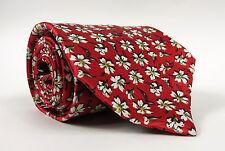 LANVIN Paris Men's Necktie Tie 100% Silk_Red/White Floral Pattern