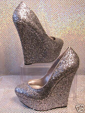 BEBE SILVER GLITTER METALLIC HIGH WEDGE PLATFORM FORMAL COCKTAIL PUMPS SZ 7.5
