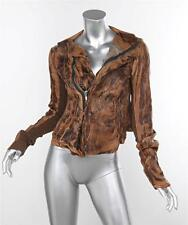 RICK OWENS Womens Casual Brown Blistered Leather Long-Sleeve Zip Jacket 38/2