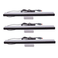 3xNew Wired Infrared IR Signal Ray Sensor Bar for Nintendo Wii Black with Silver