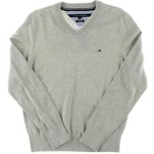 Tommy Hilfiger 2648 Mens Gray Pima Cotton V-Neck Pullover Sweater S BHFO