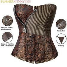 Sexy Brocade Women's Corset Laced Up Top Steampunk Waist Trainer Body Shaper 2XL