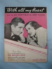 With All My Heart Sheet Music Vintage 1935 Her Masters Voice Jimmy McHugh (O)
