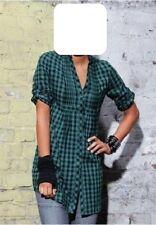 Bluse Gr. 42 Damen Longbluse grün schwarz kariert Langarm 100% Baumwolle ARIZONA