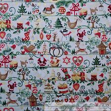 BonEful FABRIC FQ Cotton Quilt White Green Red Xmas Tree Snowman Gold Metallic S