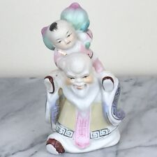 "Shou Star God of Longevity Carries Boy on Back Porcelain Figurine Statue 5""H New"