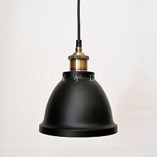Black Pendant Light Industrial Cafe Bar Home Dome Lighting Matt Brass Fittings