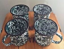 Set of 4 Vtg Speckled Green White Cowboy Camping METAL ENAMEL Coffee Mug Tin Cup