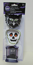 Wilton 3 PC HALLOWEEN COOKIE CUTTER SET Black Cat Skelton Head RIP Metal NIP2
