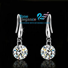 18k white gold gf sterling silver simulated diamond solid wedding earrings