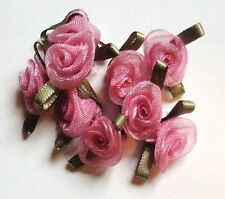3/4 inch wide sew on organza dusty rose flowers appliques set of 10