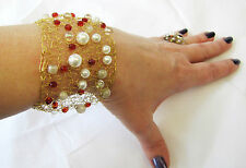 WIDE HAND KNITTED GOLD WIRE, FRENCH PEARLS & RED CRYSTALS BEADS  BRACELET BANGLE