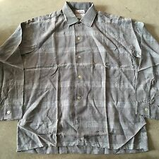 VTG 50s 60s NWOT Shadow Plaid RAYON Chevella ROCKABILLY Shirt M LOOP COLLAR