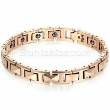 Mens Rose Gold Tone Bracelet Tungsten Carbide Magnetic Stone Energy Chain Bangle