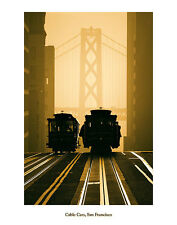 CALIFORNIA ART PRINT - Cable Cars, San Francisco by Mitchell Funk 22x28 Poster