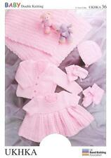 Double Knitting Pattern Shawl/Cardi Dress Hat Mitts Bootees Prem-12Mths 31-51 cm