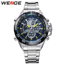 WEIDE Mens Watch Stainless Steel Digital LED Sports Quartz Wristwatches+Gift Box