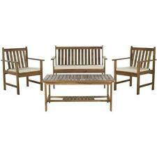 Burbank Teak Finish Brown Wood 4 piece Outdoor Furniture Set Patio Pool Deck All