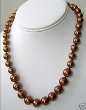 "8mm Chocolate South Sea shell Pearl Necklace 18"" LL006"