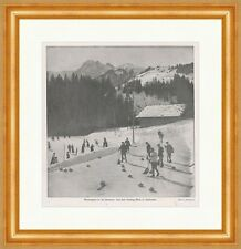 Wintersport in der Schweiz: Curling-Rink 1909 Adelboden Sport F Original 00278