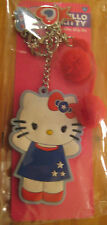Hello Kitty America Backpack Clip On Key Chain Red,White,& Blue Charms Pom-Poms