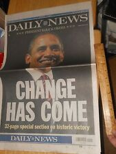NY Daily News Wrap Around Cover PRESIDENT BARACK OBAMA With SPECIAL SECTION 2008