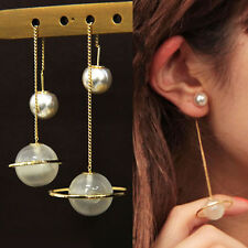 1 Pair Elegant Crystal Glass Pearl Dangle Saturn Earrings Eardrop Jewelry